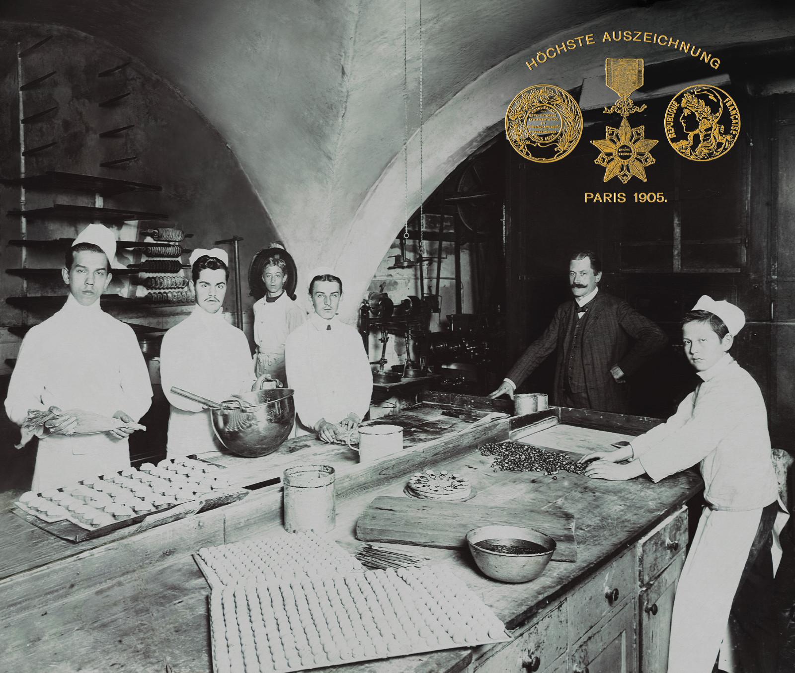 Die Konditorei und Backstube damals, 1905.