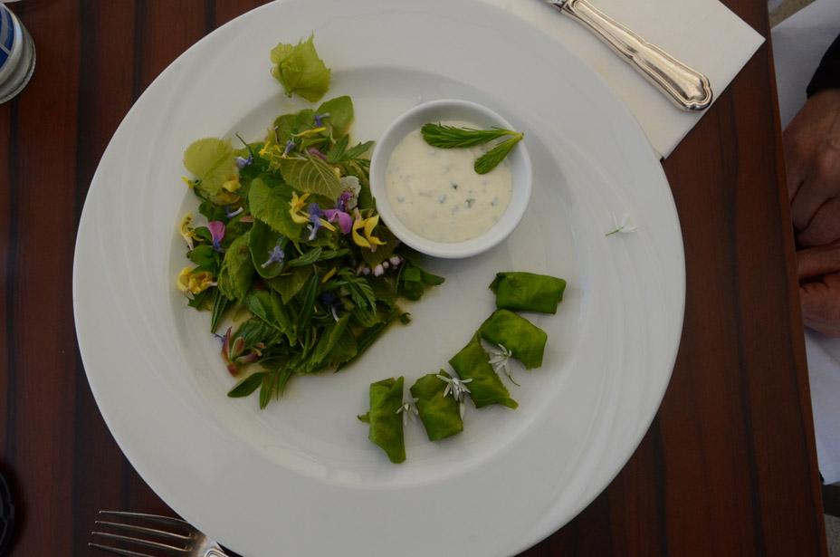 Frühlingskräuter-Salat mit gefüllten Lindenblättern