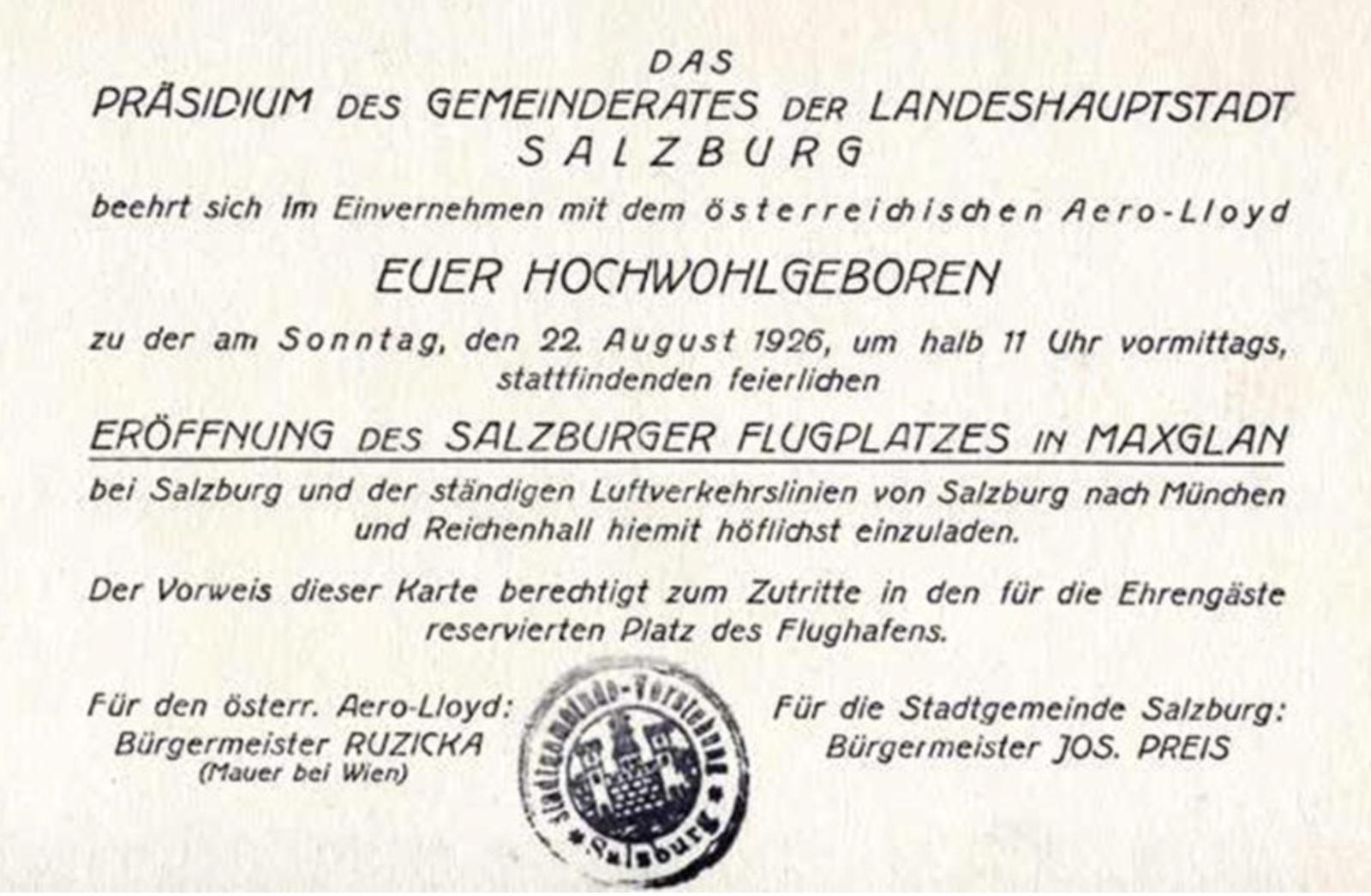 Einladung zur Flugplatzeröffnung 1926