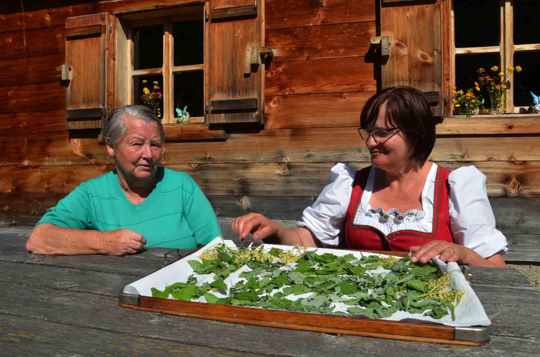 Kathi und Heidi  mit getrockneten Kräutern