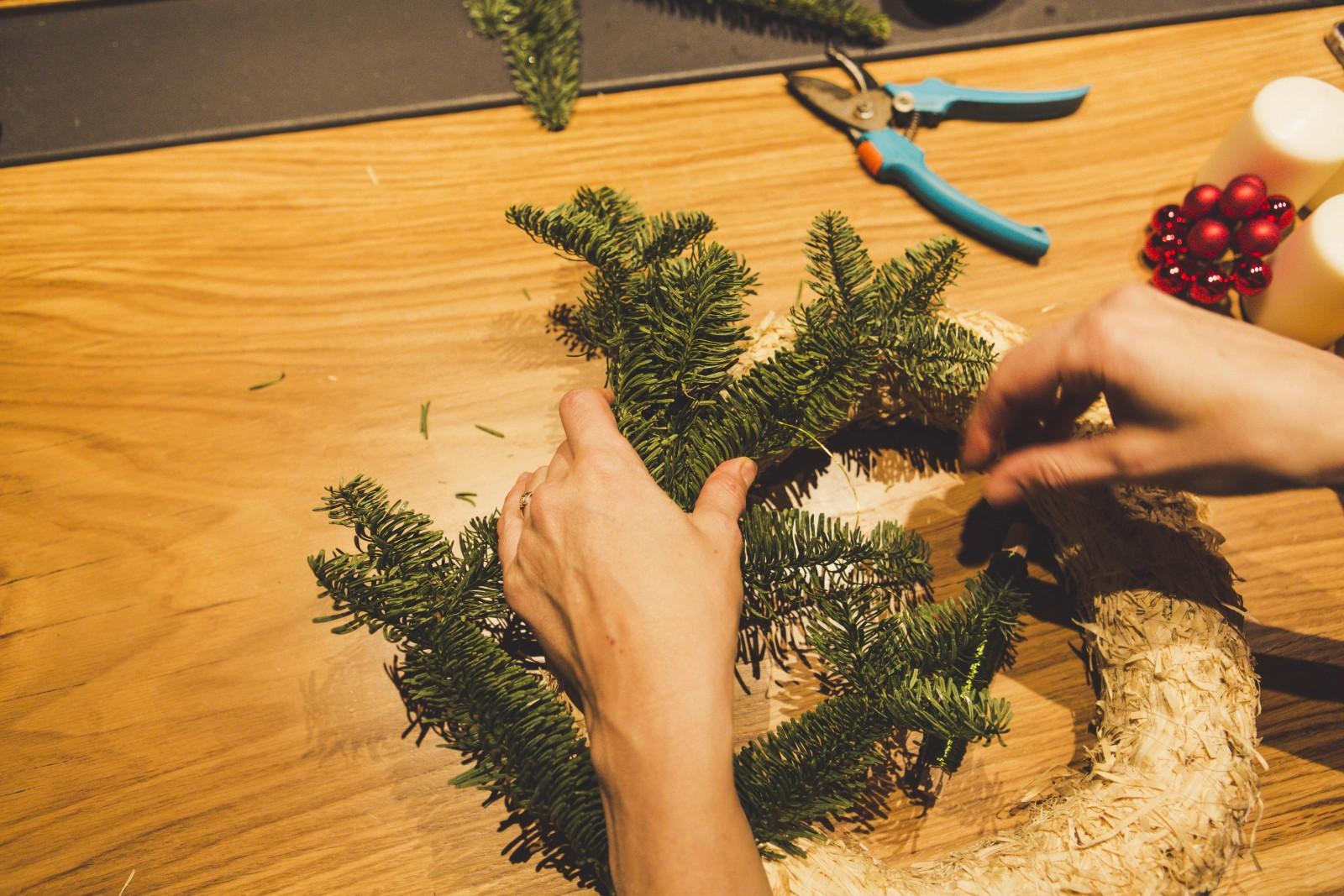 Dann den ersten Zweig binden.