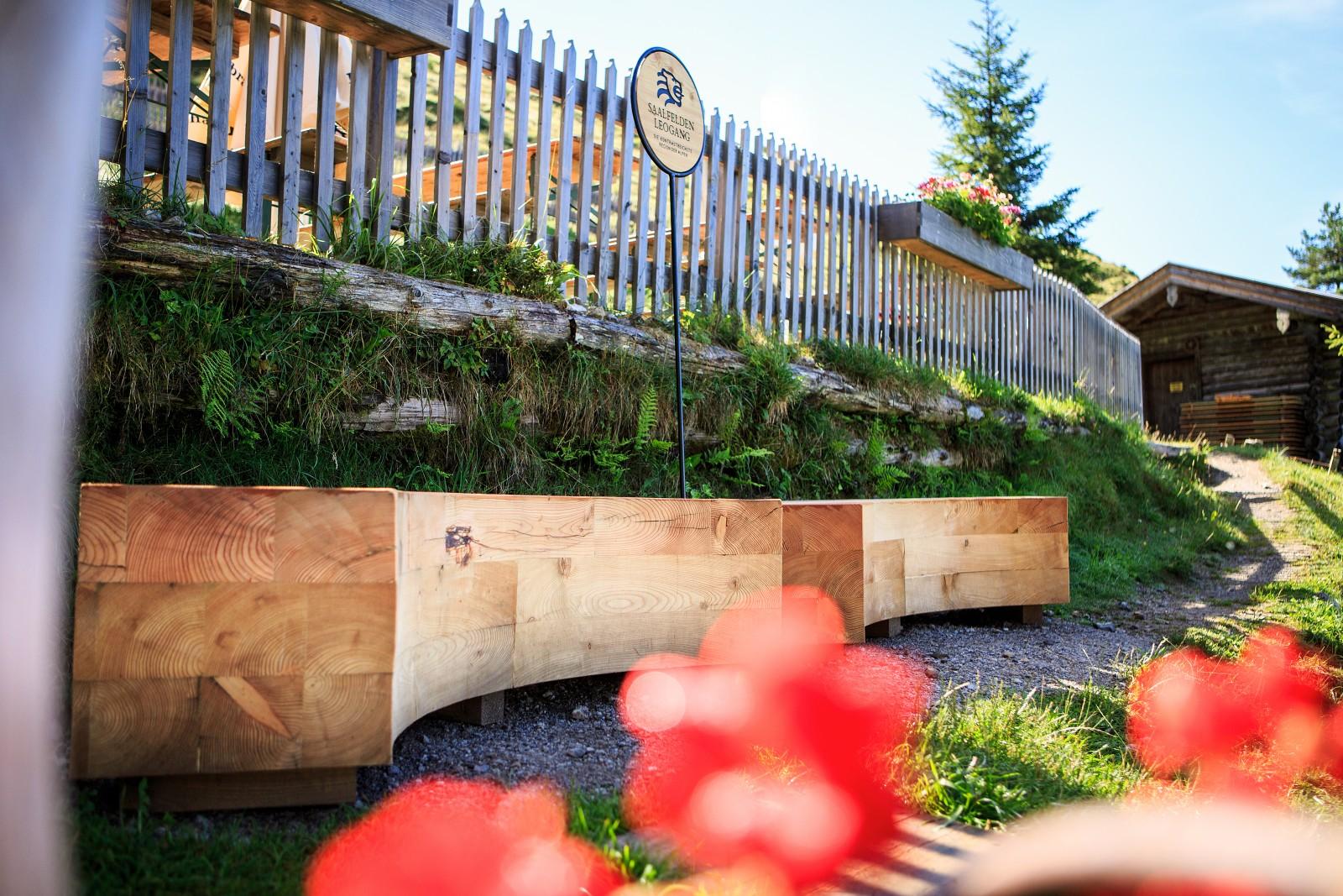 Holz-Installation auf Wanderweg