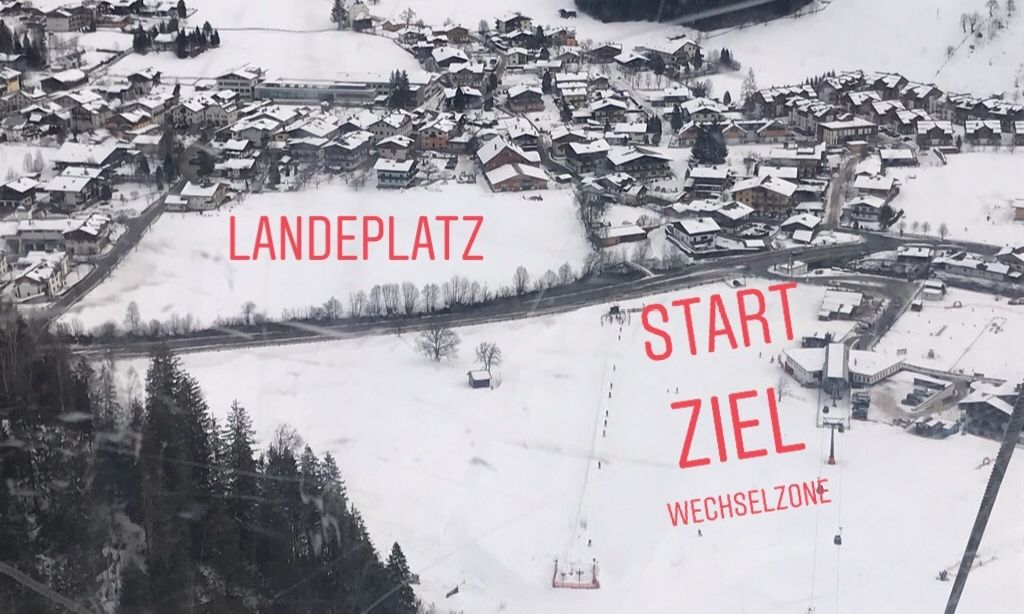 Start/Ziel-Bereich und Landeplatz für die Paraglider
