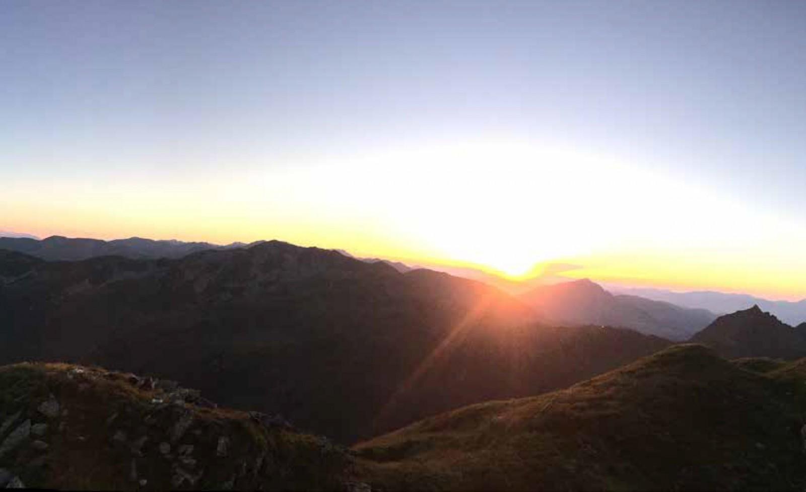 Sonnenaufgang am Wildkogelhaus. c Privat