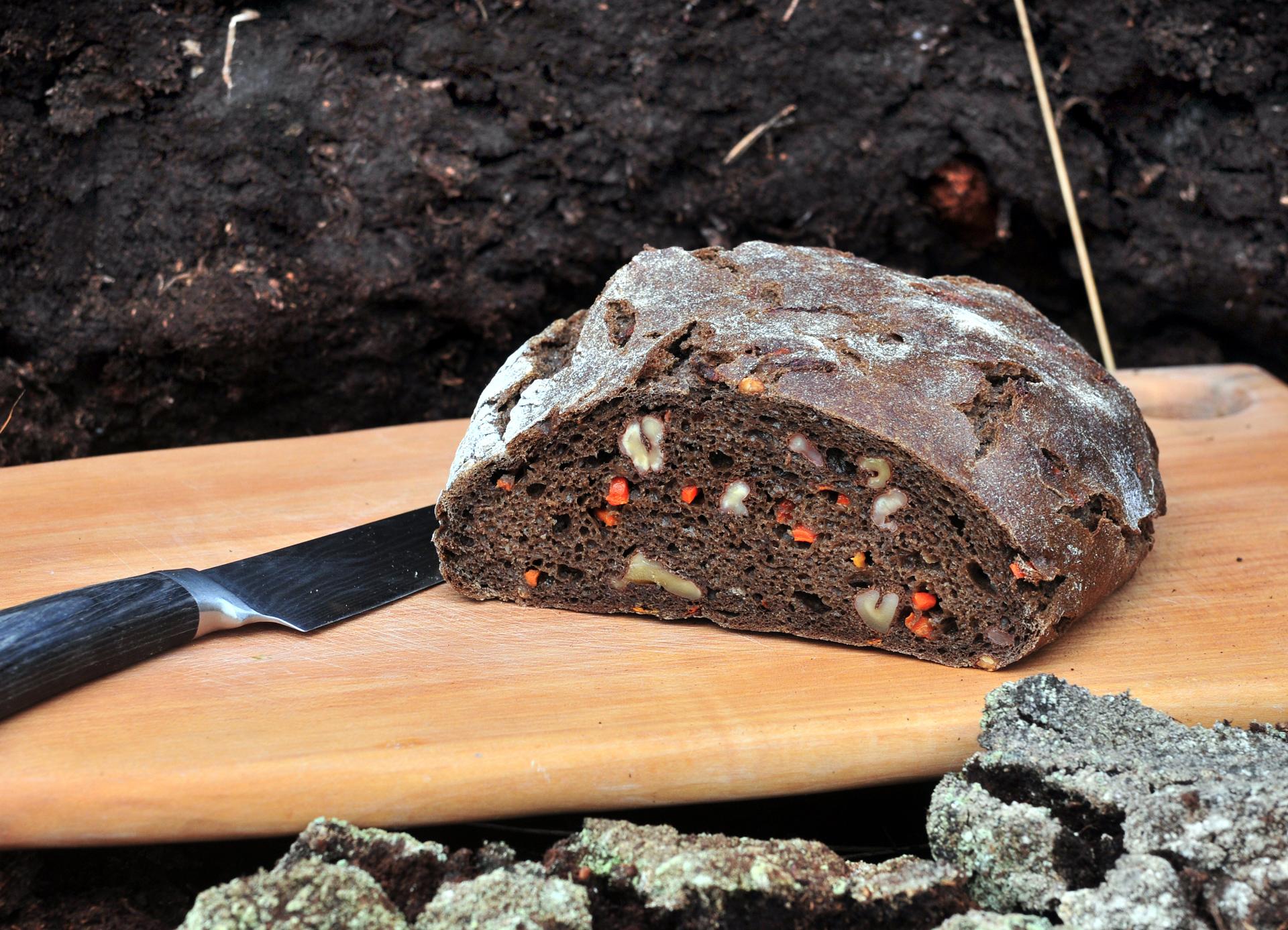 Angeschnittener dunkler Brotlaib mit Nüssen