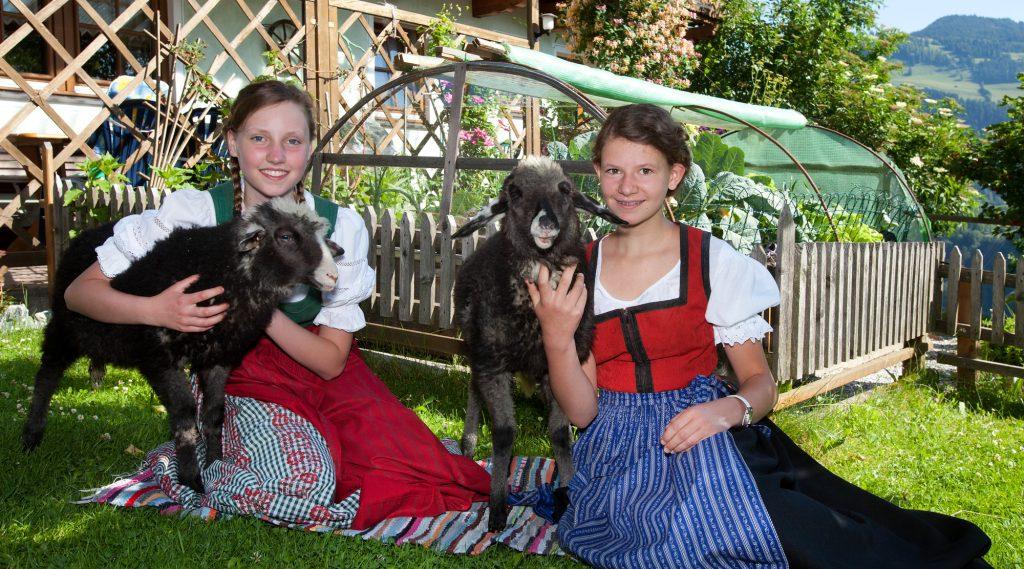Kinder mit Schafen im Bauernhofdorf Embach.