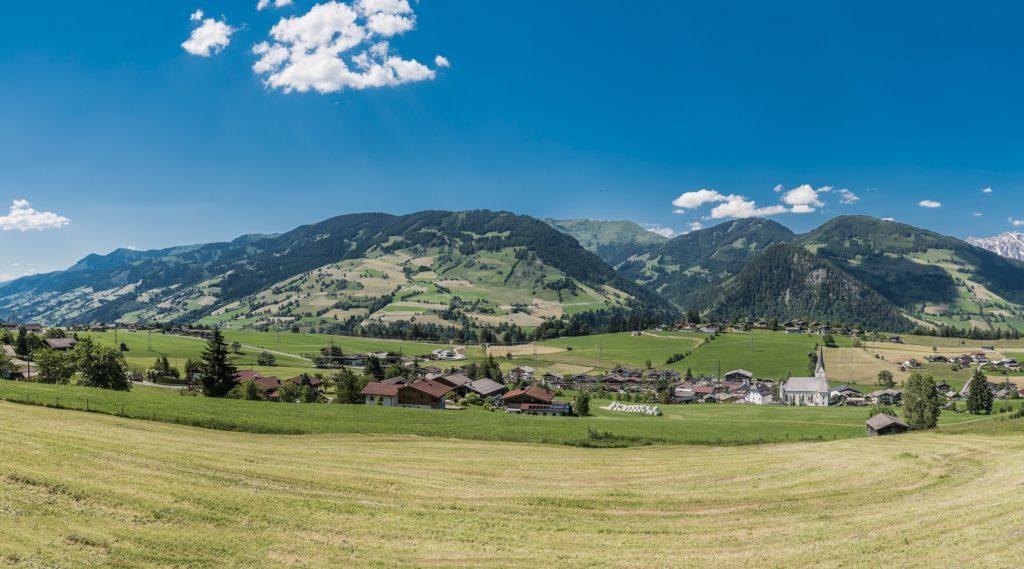 Blick auf Embach im Sommer.