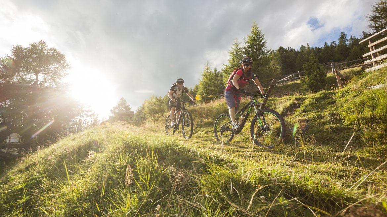 Zwei Bikder im Gegenlicht auf einem Almwiesenweg