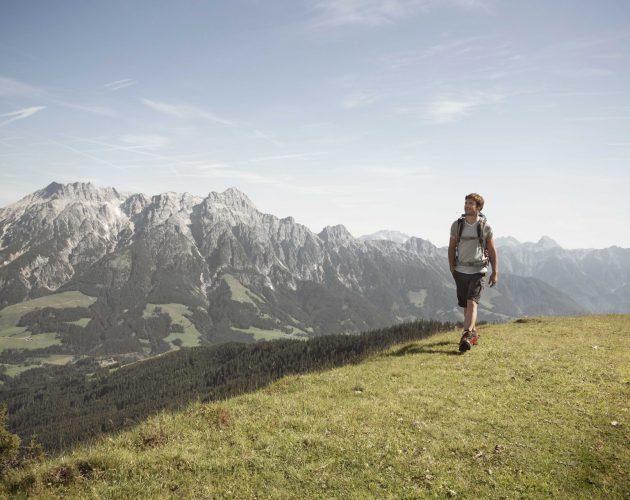Mann beim Wandern über eine Almwiese, im Hintergrund schroffe Berge