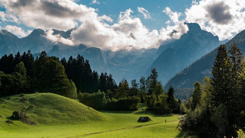 Sattgrüne Wiesen, Berge und Wälder