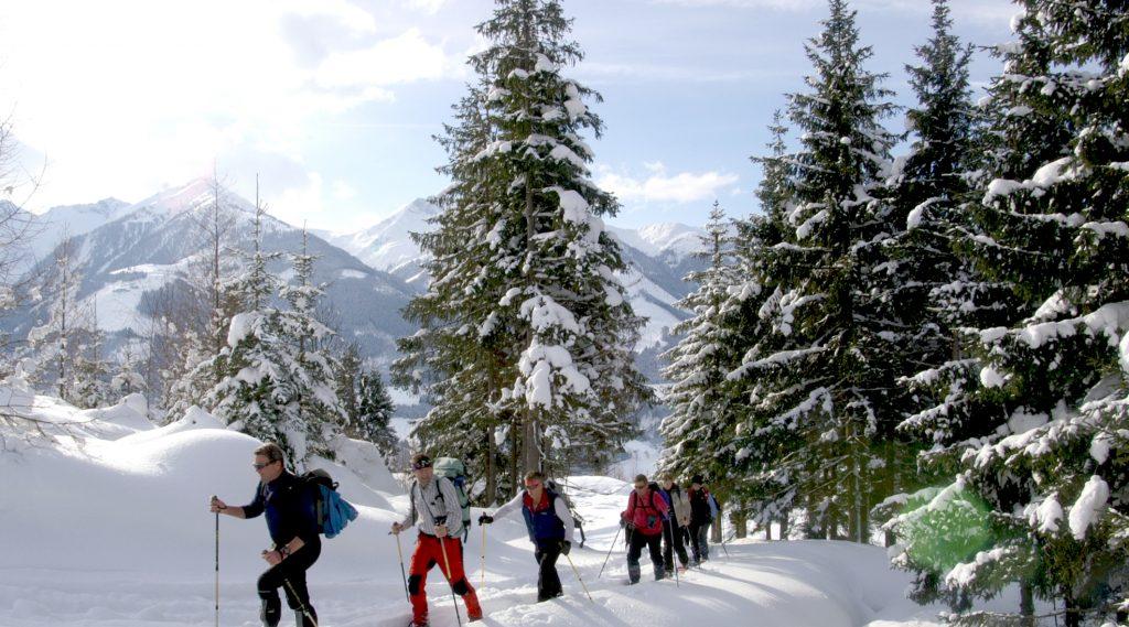 Gruppe beim Schneeschuhwandern in Niedernsill