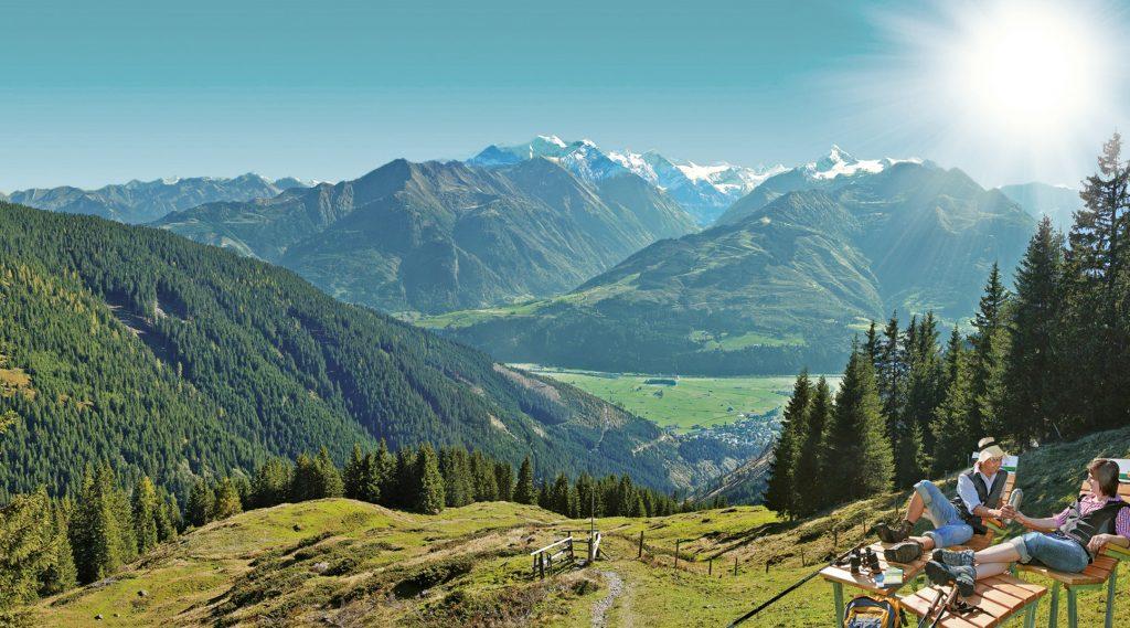 Blick über eine Alm ins Tal, im Hintergrund Berge