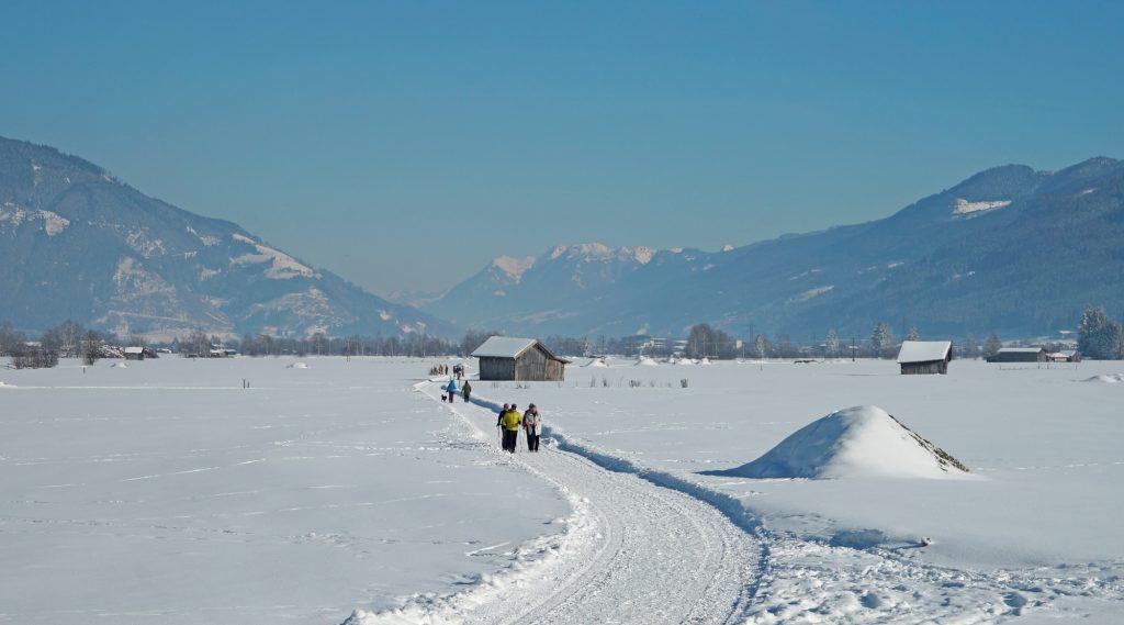Geräumter Winterwanderweg mit Spaziergängern im Sonnenschein