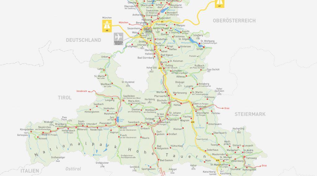 salzburger land karte Das SalzburgerLand: Geschichte, Geografie und Regionen