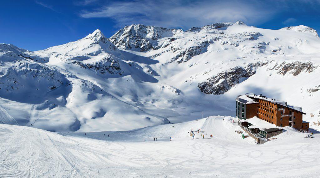 Winterliches Panorama in der Weißsee Gletscherwelt.