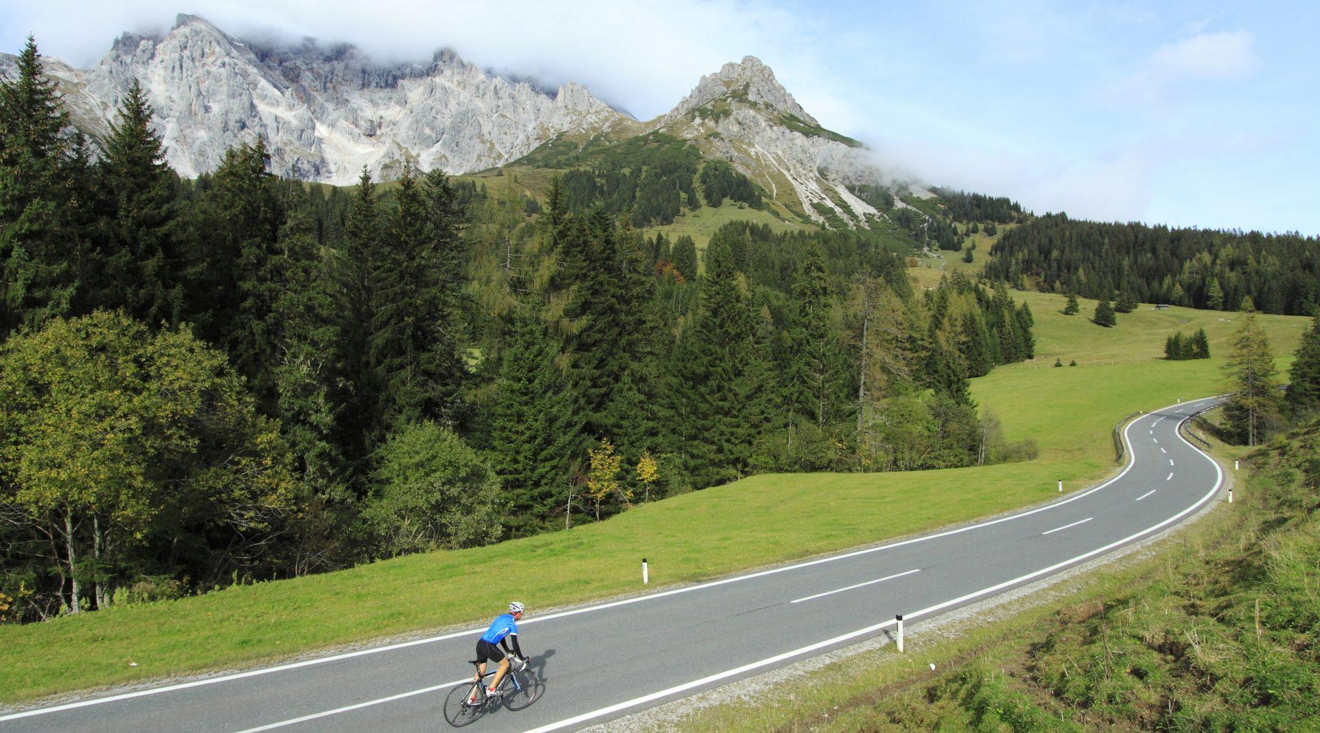 Rennradfahrer fährt eine ansteigende Straße hinauf und hat dabei die Berge im Blick.