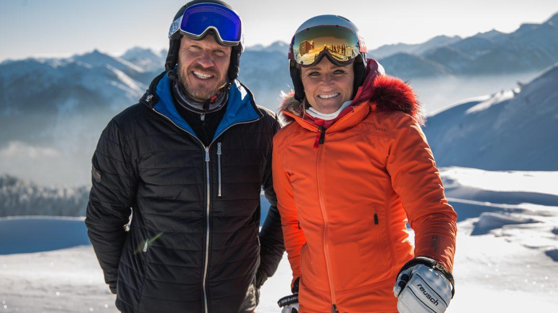 Hermann Maier trifft Alexandra Meissnitzer wieder in Flachau