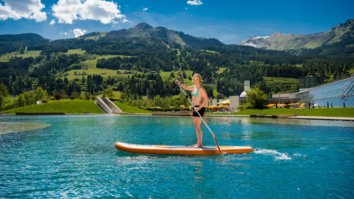 Stand-Up Paddling am Thermalwasser Badeseen