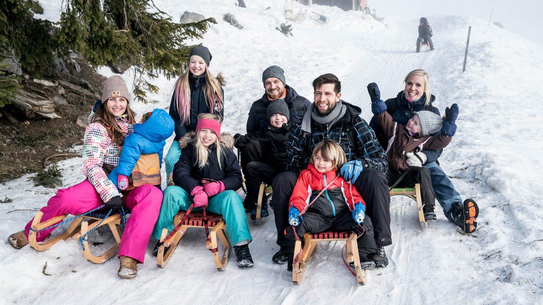 Die zwei Bloggerfamilien beim Rodeln