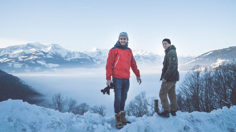 Jesper und Kenneth über der Nebeldecke
