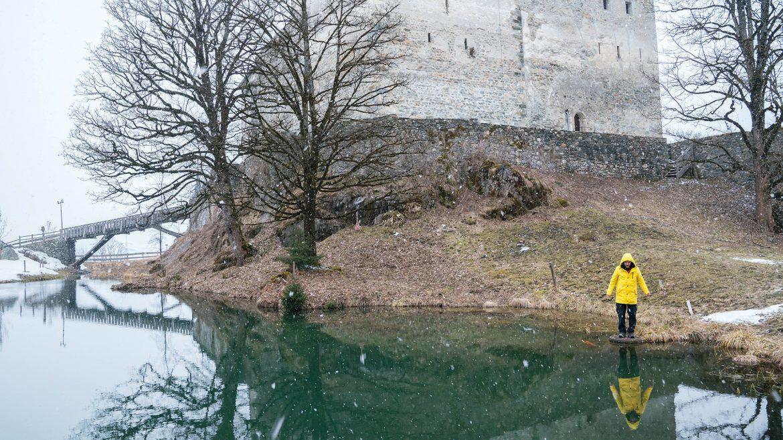 Spiegelung bei der Burg Kaprun