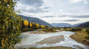 Herbstlandschaft mit bunten Bäume am Fluss