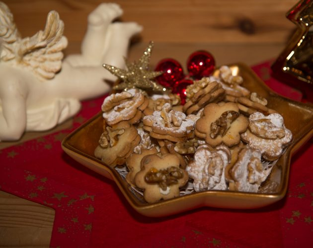 Christmas biscuits on a golden plate
