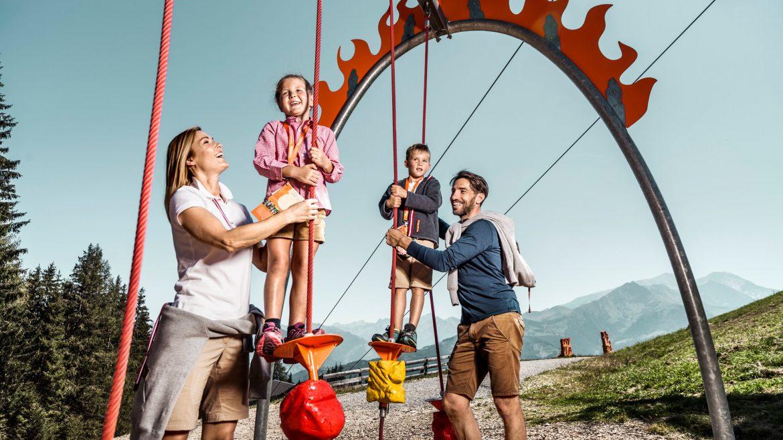 Family on SalzburgerLand summer lift