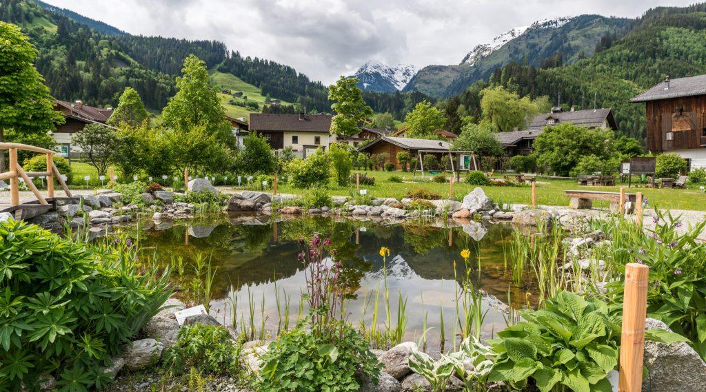 Blick über den Hollersbacher Kräutergarten