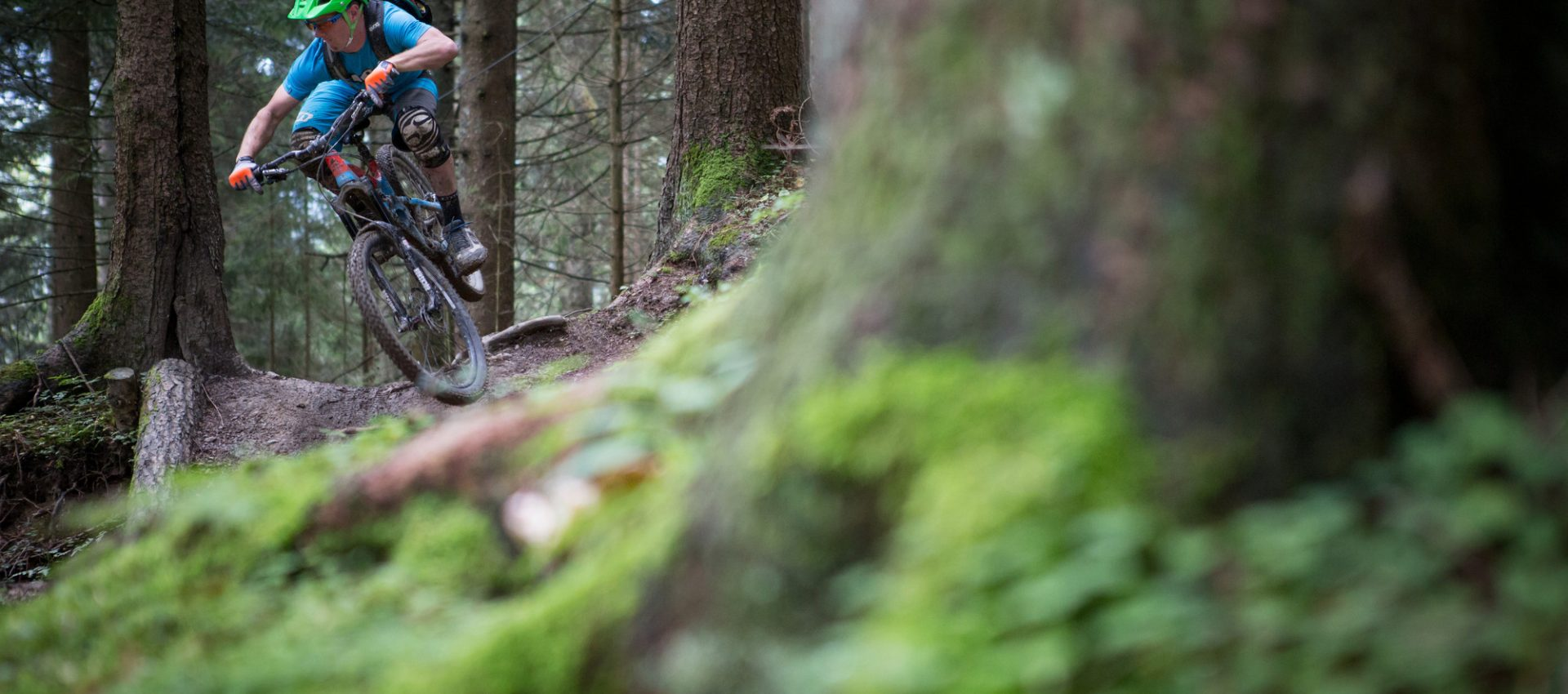 Mountain biker down-hill