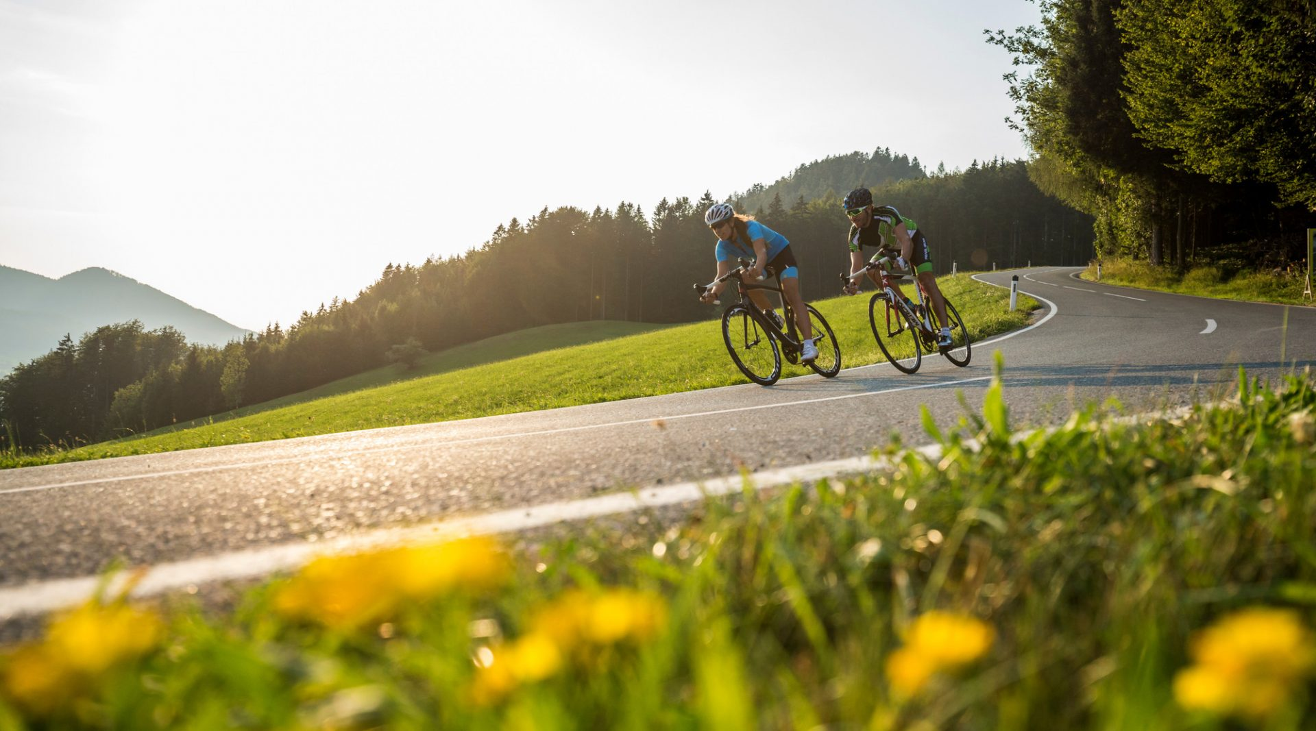 Two Road biker in summer sunset