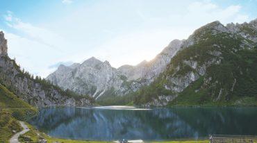 Bergsee, Wasser, Wanderer, Bergpanorama, Sonnenaufgang