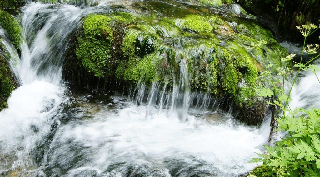 Wasser plätschert über moosbewachsene Steine