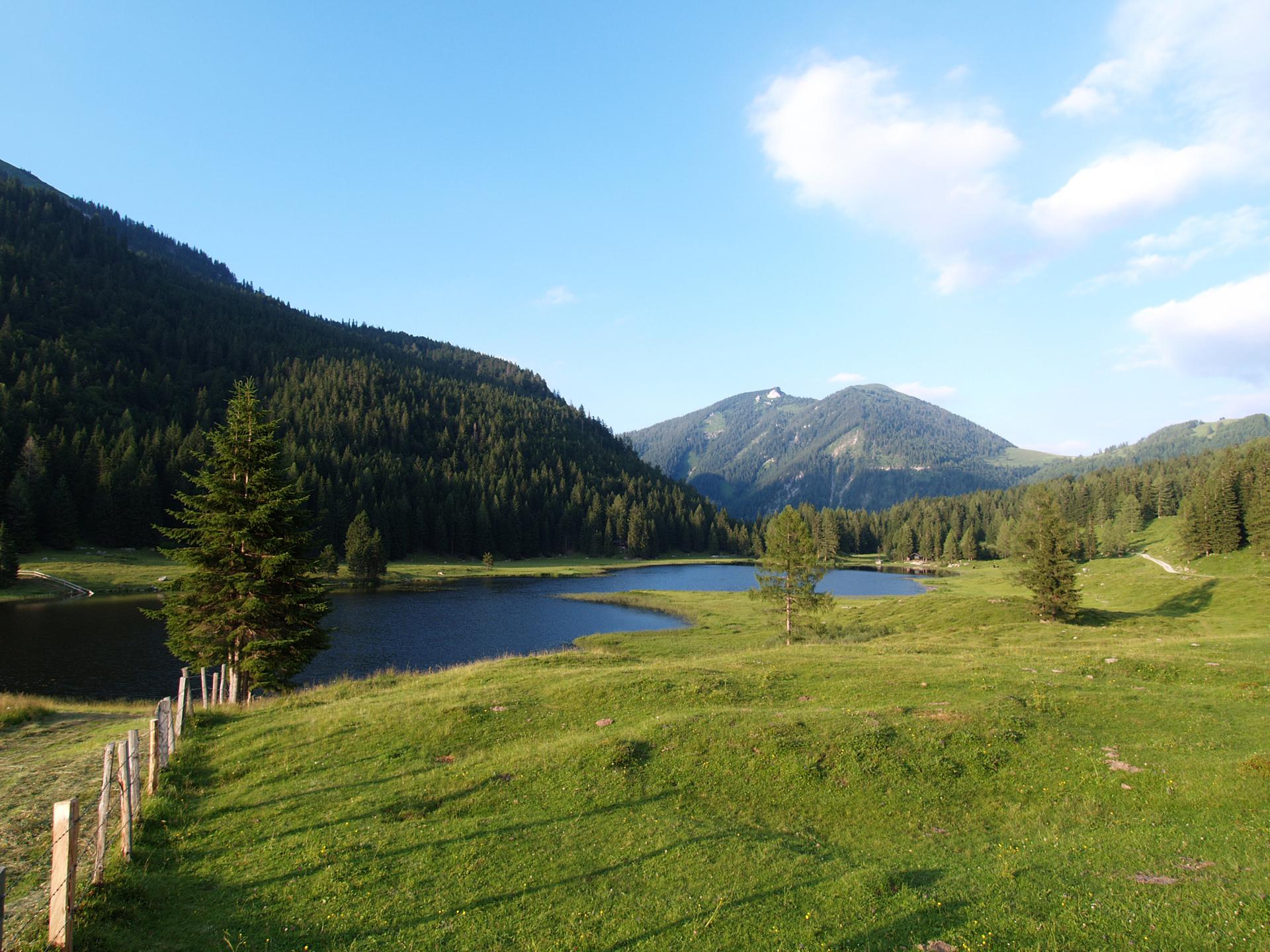 Bergsee umgeben von Weiden und Bergen