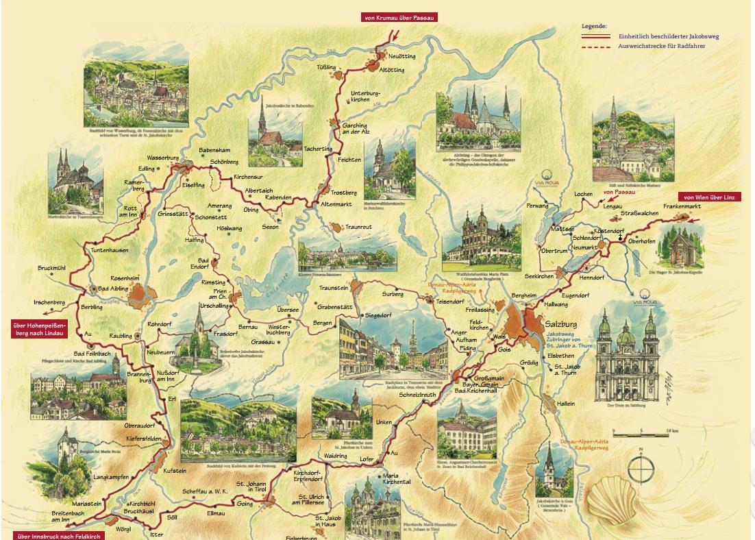 Gezeichnete und bebilderte Karte des Jakobsweges