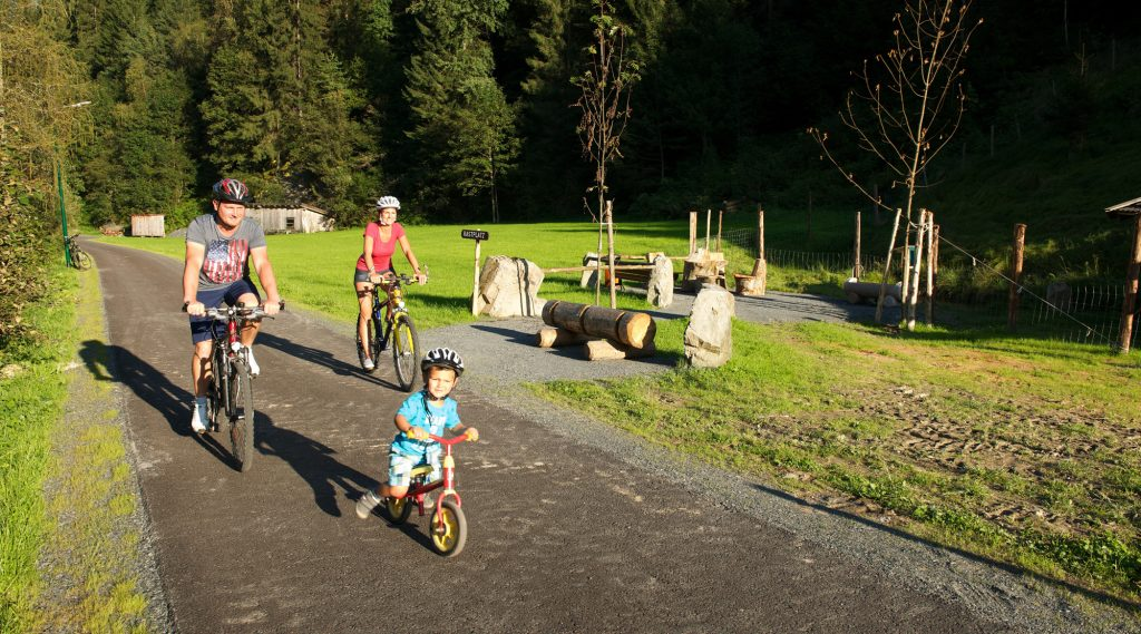 Gemütliches Radeln am Radweg entlang der Saalach.