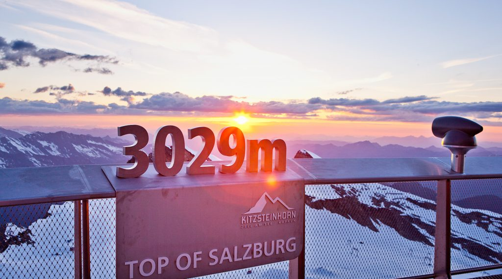 View from Kitzsteinhorn with sunset