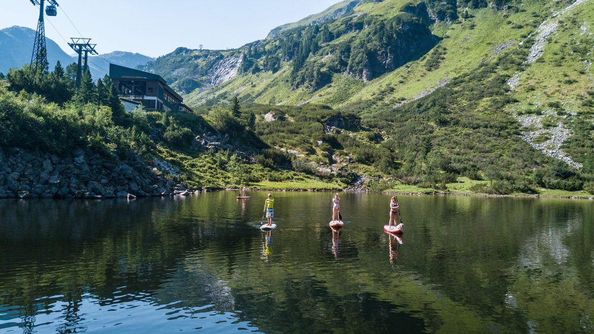 Stand Up Paddling at the Grünsee Lake