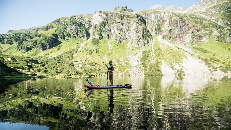 Stand Up Paddling at the Grünsee Lake