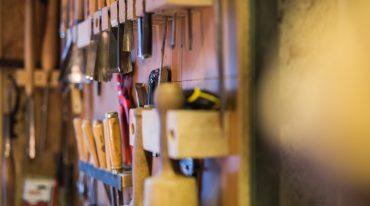 a close up of a wooden shelf