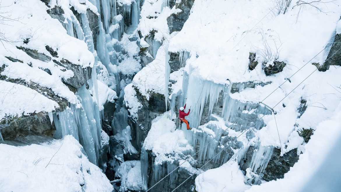 Ice climber in Zell am See-Kaprun