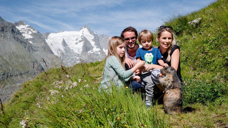 Familie streichelt Murmeltier