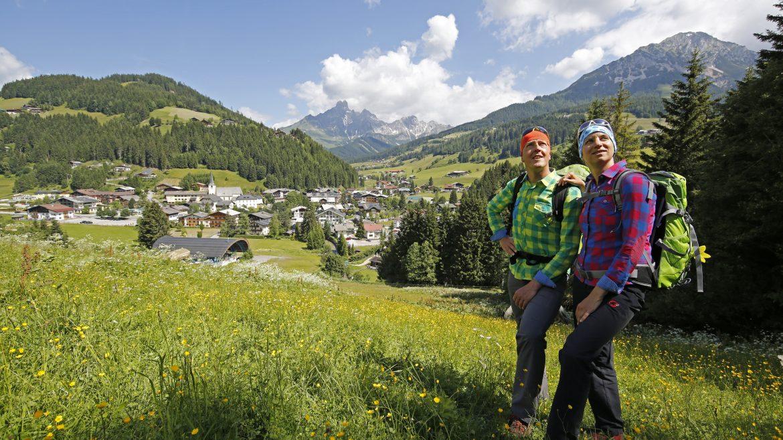 Wandelaars op een bergweide
